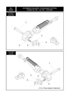 Footpegs adapters PUIG for Honda CMX 500 Rebel / CB 500F / CB650F/R / CBR650F/R / CBR500R / CB 1000R / Crossrunner / Integra 700/750 / NC 700/750 S/X / VFR800F (passenger)