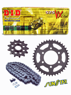HONDA VT 750C BW SHADOW [02-05] DID525 VX GOLD PRO - STREET chain and SUNSTAR sprockets
