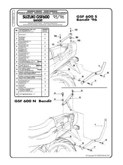 Stelaż pod kufer centralny Givi MONOKEY i MONOLOCK do Suzuki GSF 1200 Bandit 96-99 / GSF 600 Bandit / S (96-99)