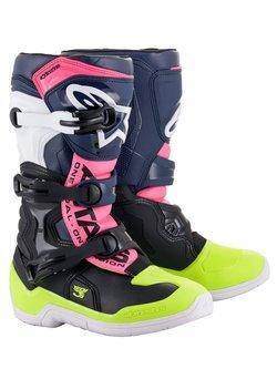 Buty off-road młodzieżowe Alpinestars Tech 3S czarno-granatowo-różowe fluo