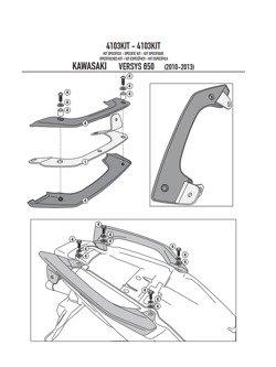 Kit GIVI do zamocowanie stelaża bocznego PL4103CAM bez stelaża centralnego 451FZ Kawasaki Versys 650 [10-14]